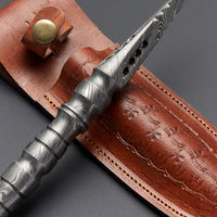 Custom Handmade Damascus Steel Dagger Knife With Leather Sheath....Knives Hub