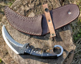 "Hand Forged Karambit Knife With Ram Horn handle | 5.5"" Hammered Stainless Steel Blade 