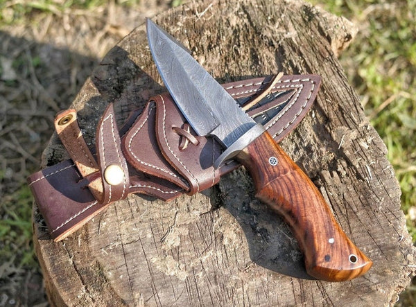 "10"" Damascus Steel Hand Forged Hunting Knife 