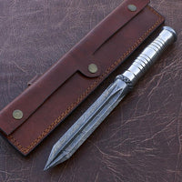 |Knives Hub| Handmade Damascus Steel Dagger Knife Twisted Pattern Comes With Leather Sheath