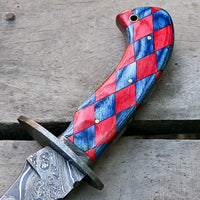 |Knives Hub| Handmade Damascus Steel Hunting Kukri Knife Twist Pattern Comes With Leather Sheath
