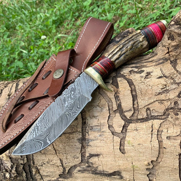 Custom Handmade Damascus Steel ANTLER Handle Hunting Knife With Leather Sheath....Knives Hub