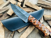 Custom handmade Damascus steel Skinner knife with leather sheath....Knives Hub