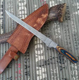 |Knives Hub| Custom Handmade Damascus Steel Fillet Fish Knife With Leather Sheath
