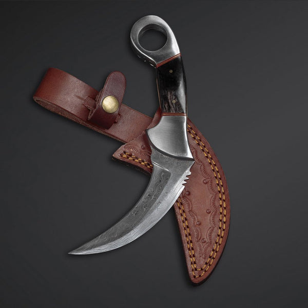 Custom Handmade Damascus Steel Karambit Knife With Leather Sheath....Knives Hub