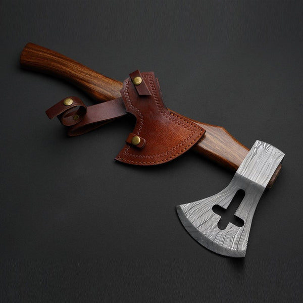 Custom Handmade Damascus Steel Axe With Quality Leather Sheath......Knives Hub