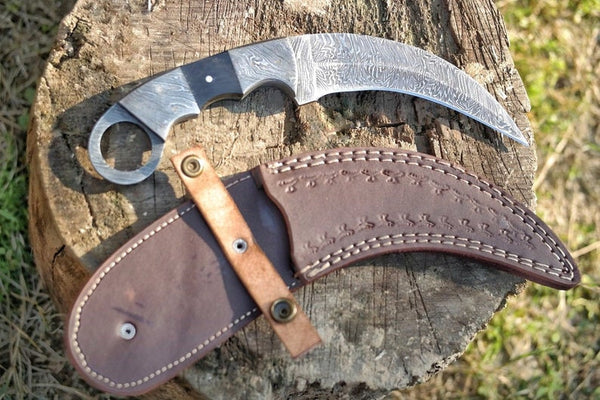 "Damascus Steel Handmade Karambit Knife| 9""Double Edge Karambit Knife With Buffalo Horn Handle