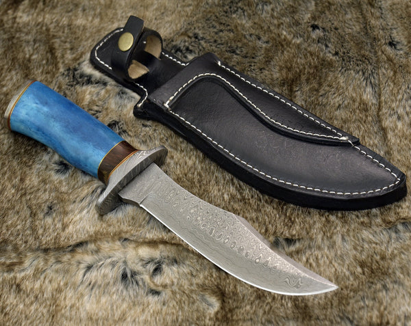 "|Knives Hub| DAMASCUS STEEL BOWIE KNIFE, 12"", DAMASCUS STEEL TRAILING POINT BLADE, BOWIE KNIFE , CAMEL BONE HANDLE, DAMASCUS GUARD & POMMEL, FIXED BLADE, FULL TANG"