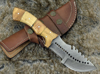 Custom Handmade Damascus Steel Blade Tracker Knife With Leather Sheath....Knives Hub