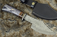 Custom Handmade Damascus Steel Blade Kitchen Axe With Leather Sheath