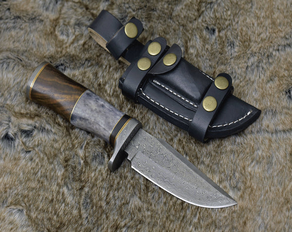 Custom Handmade Damascus Steel Blade Bowie Knife With Leather Sheath