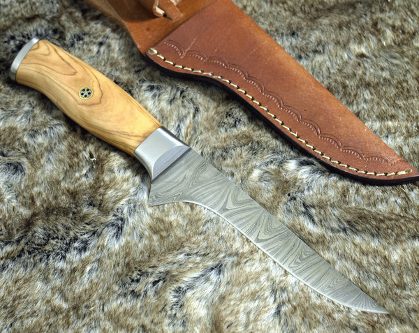 Custom Handmade Damascus Steel Blade Fillet Fish Knife With Leather Sheath
