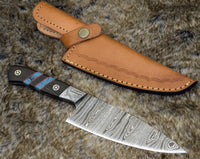 Custom Handmade Damascus Steel Chef Knife With Leather Sheath