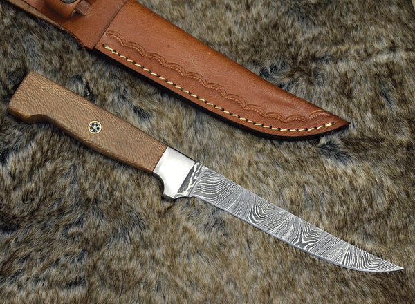 Custom Handmade Damascus Steel Blade Fillet Fish Knife With Leather Sheath....Knives Hub