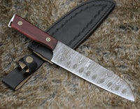 Custom Handmade Damascus Steel Blade Chef Knife With Leather Sheath
