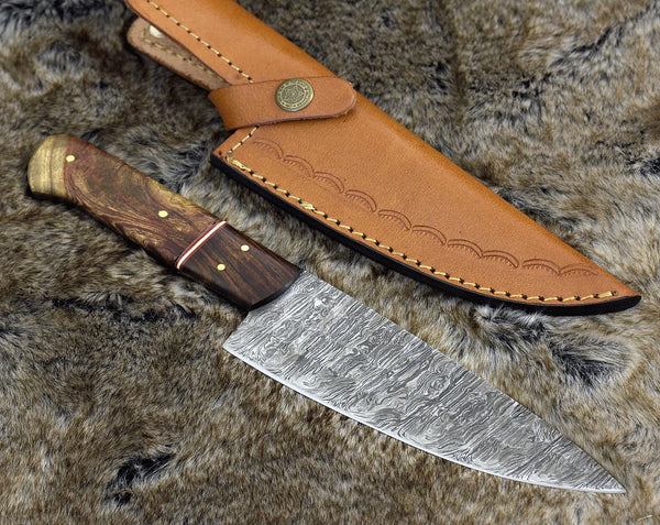 Custom Handmade Damascus Steel Blade Chef Knife With Leather Sheath....Knives Hub