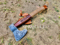 Custom Handmade Tomahawk Axe Rose Wooden Handle With Leather Sheath....Knives Hub