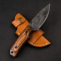 |Knives Hub| Custom Handmade Damascus Steel Skinning Hunting Knife With Leather Sheath