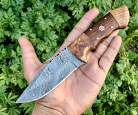 Damascus Hunting Skinning Knife With Leather Sheath....Knives Hub