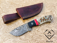 |Knives Hub| Custom Handmade Damascus Steel Skinning Knife With Leather Sheath