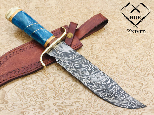 |Knives Hub| Custom Handmade Damascus Steel Hunter Bowie Knife With Leather Sheath
