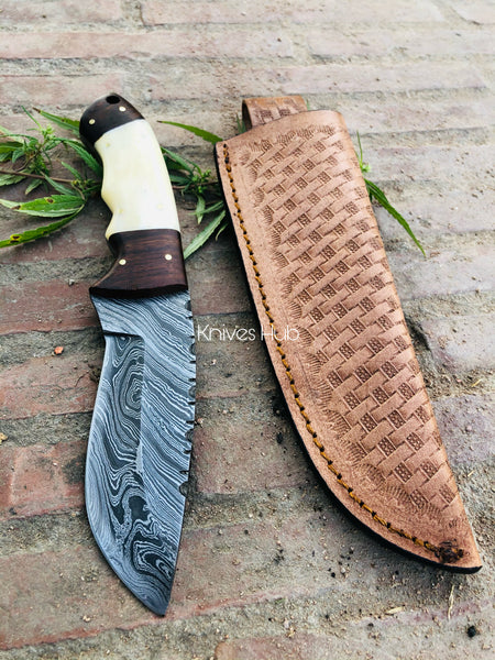 Custom Handmade Damascus Steel Full Tang Skinner Knife With Leather Sheath....Knives Hub