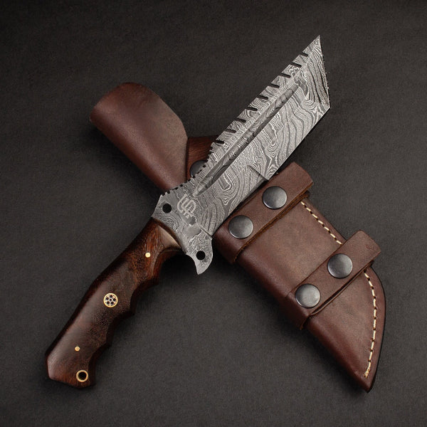 |Knives Hub| Handmade Damascus Steel Warrior Tanto Knife - Brown Wood Handle