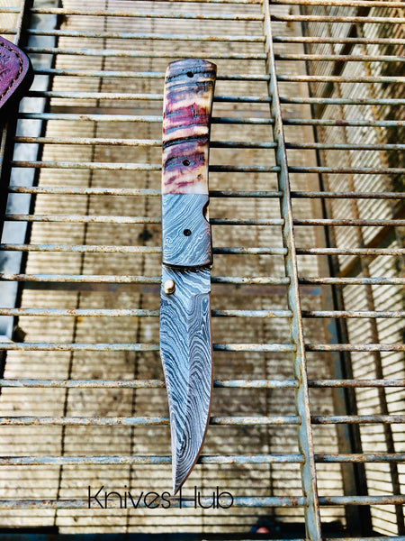 Handmade Damascus Steel Folding Pocket Knife With Leather Sheath....Knives Hub