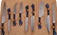 Custom Handmade Damascus Steel Chef Set With Leather Roll Kit....Knives Hub