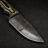 |Knives Hub| Handmade Damascus Steel Skinning Knife With Leather Sheath