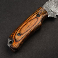 Custom Handmade Damascus Steel Skinning Hunting Knife With Leather Sheath....Knives Hub