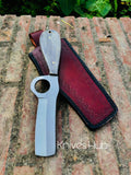 Handmade D2 Steel Bull cutter knife with leather sheath....Knives Hub