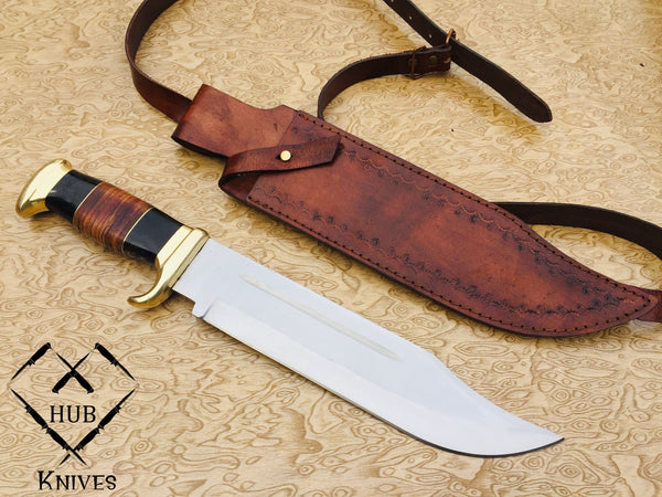 |Knives Hub| Custom Made Hunter Bowie Knife 1095 Steel High polished Blade With Leather Sheath