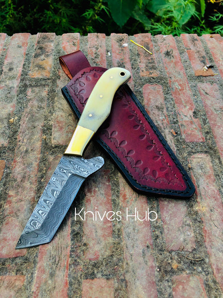 Handmade Damascus Steel Bull Cutter knife with leather sheath