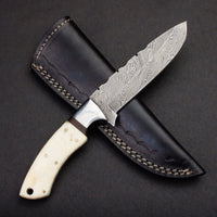 |Knives Hub| Handmade Damascus Steel Hunting Knife With Leather Sheath