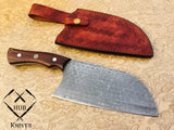 |Knives Hub| Damascus Knife Custom Handmade  Wood Handle Kitchen Chef Cleaver With Leather Sheath