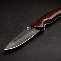 |Knives Hub| Damascus Steel Liner Lock Folding Knife With Leather Sheath