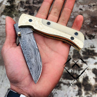 |Knives Hub| Custom Handle Damascus Steel Folding Pocket Knife