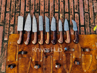 Handmade Damascus Steel Chef Set With Leather Roll Kit....Knives Hub