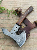 Custom Handmade Damascus Steel Axe Rose Wood Handle With Leather Sheath......Knives Hub