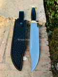 Custom Handmade D2 Steel Hunting Bowie Knife With Leather Sheath.....Knives Hub