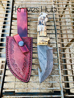Handmade Damascus Steel Gut Hook Knife....Knives Hub