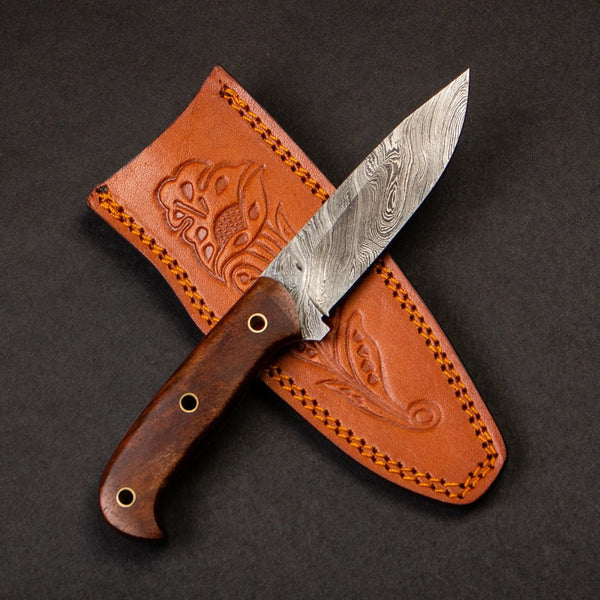 |Knives Hub| Handmade Damascus Steel Hunting Skinning Knife With Leather Sheath