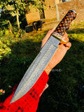 Custom Handmade Damascus Steel Hunting Knife....Knives Hub