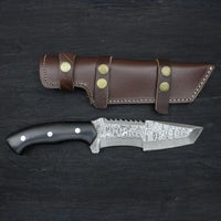 |Knives Hub| Custom Handmade Damascus Steel Hunting Tanto Knife With Leather Sheath