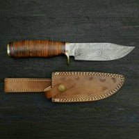 Custom Handmade Damascus Steel Hunting Bowie Knife With Leather Sheath....Knives Hub
