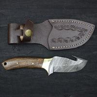 Custom Handmade Damascus Steel Gut Hook Skinning Knife With Leather Sheath....Knives Hub