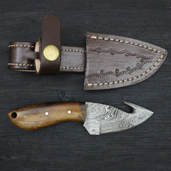 |Knives Hub| Custom Handmade Damascus Steel Gut Hook Skinning Knife With Leather Sheath