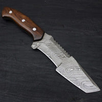 Custom Handmade Damascus Steel Hunting Tanto Knife With Leather Sheath....Knives Hub