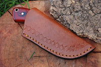 Custom Handmade Skinning Neck Knife With Leather Sheath....Knives Hub